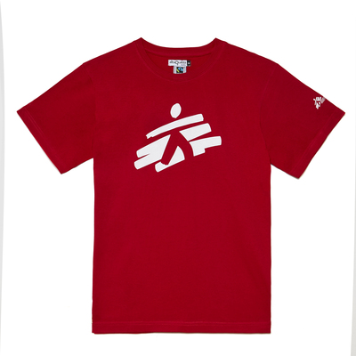 T-shirt unisex rossa con omino MSF