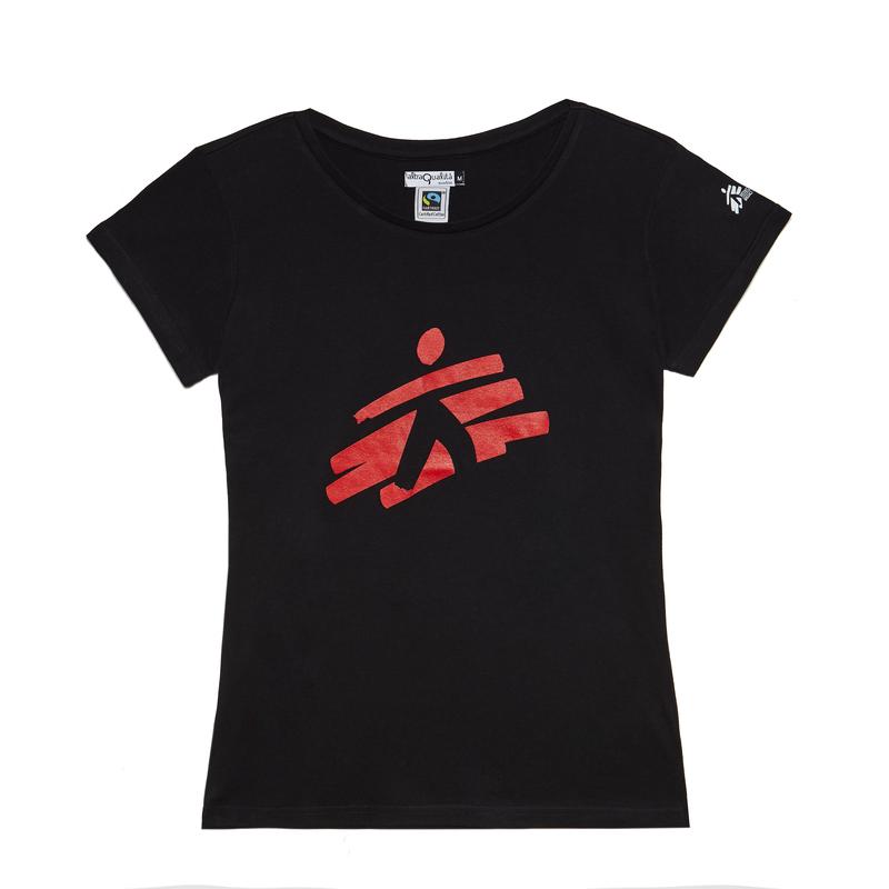 T-shirt donna nera con omino MSF