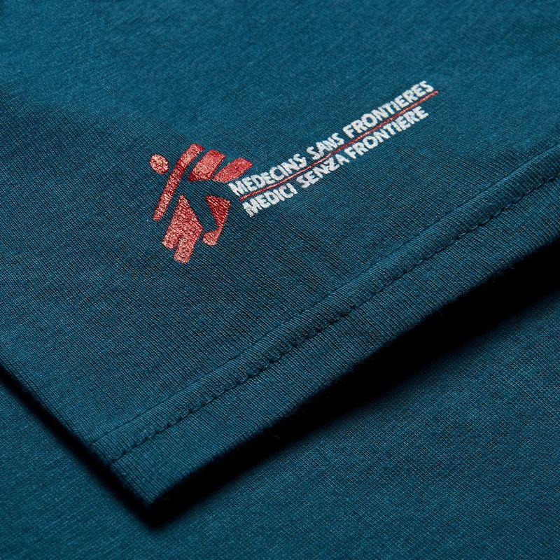 T-shirt donna azzurra con omino MSF