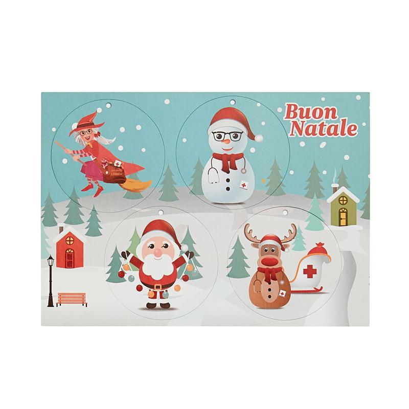 Cartoncino MSF con decorazioni natalizie