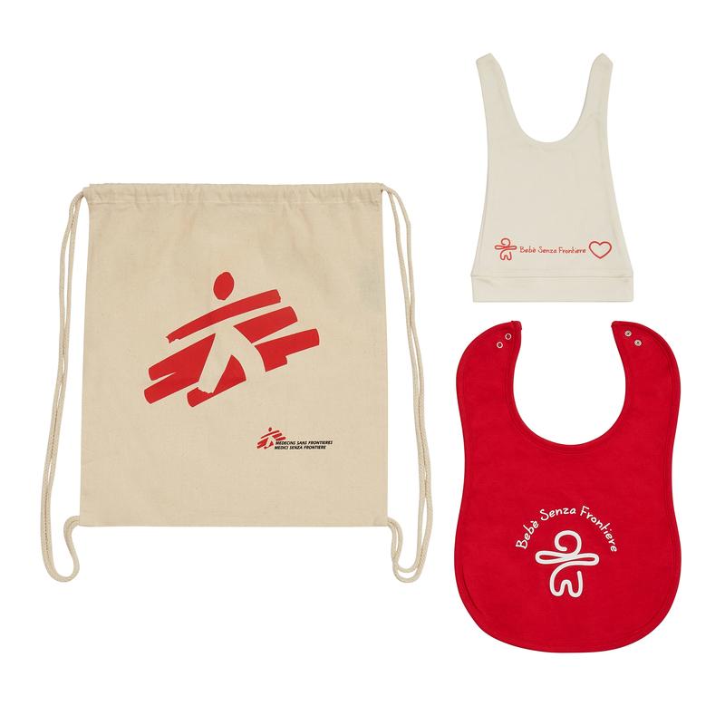 Kit regalo MSF per neonato: zainetto, berretto, bavaglino