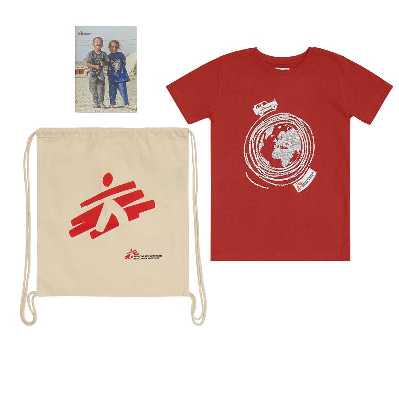 Kit regalo MSF per bambino: zainetto, quaderno, t-shirt
