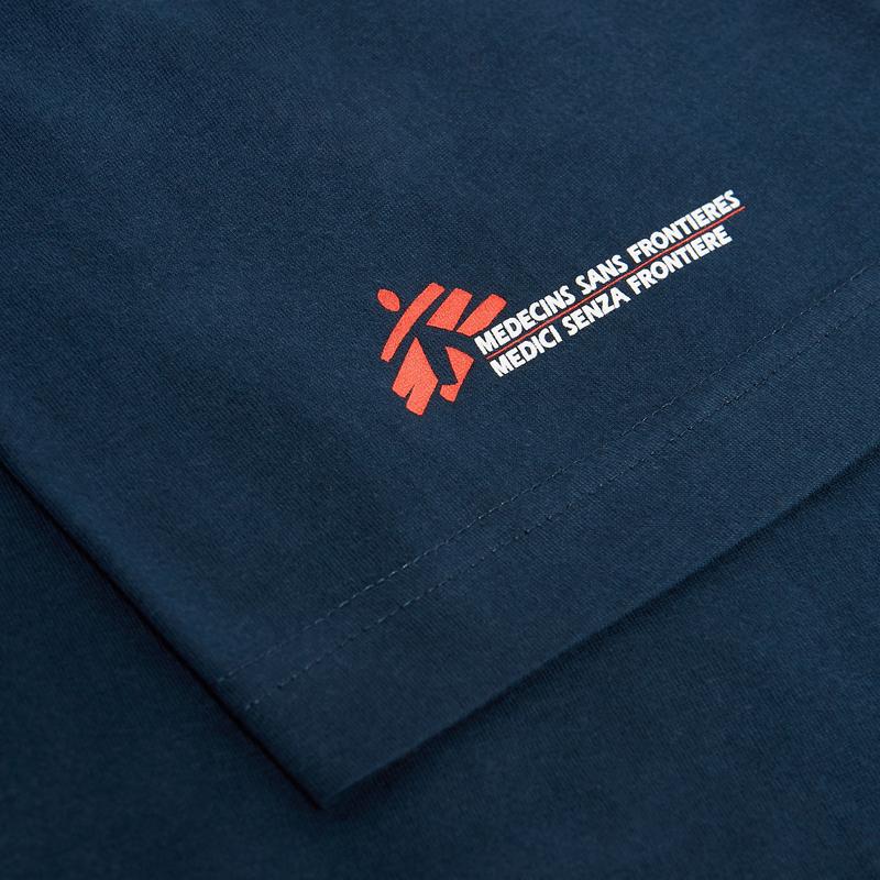 T-shirt unisex blu con omino MSF