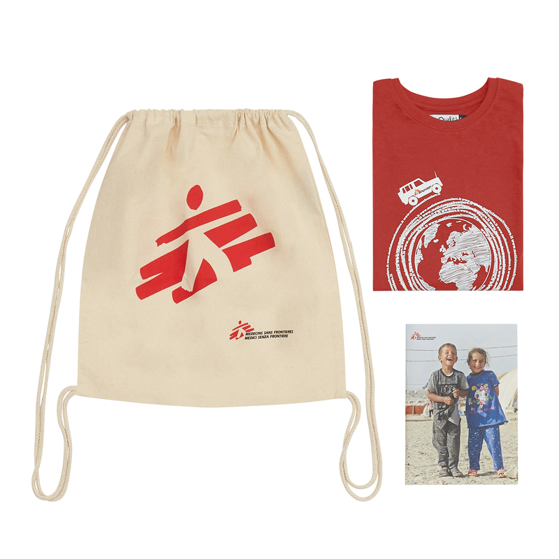 Kit regalo MSF per bambino: zainetto, quaderno, t-shirt