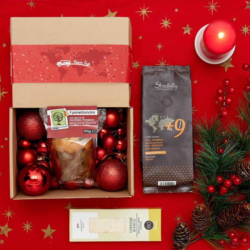 Scatola di Natale MSF con panettone, caffè e torrone