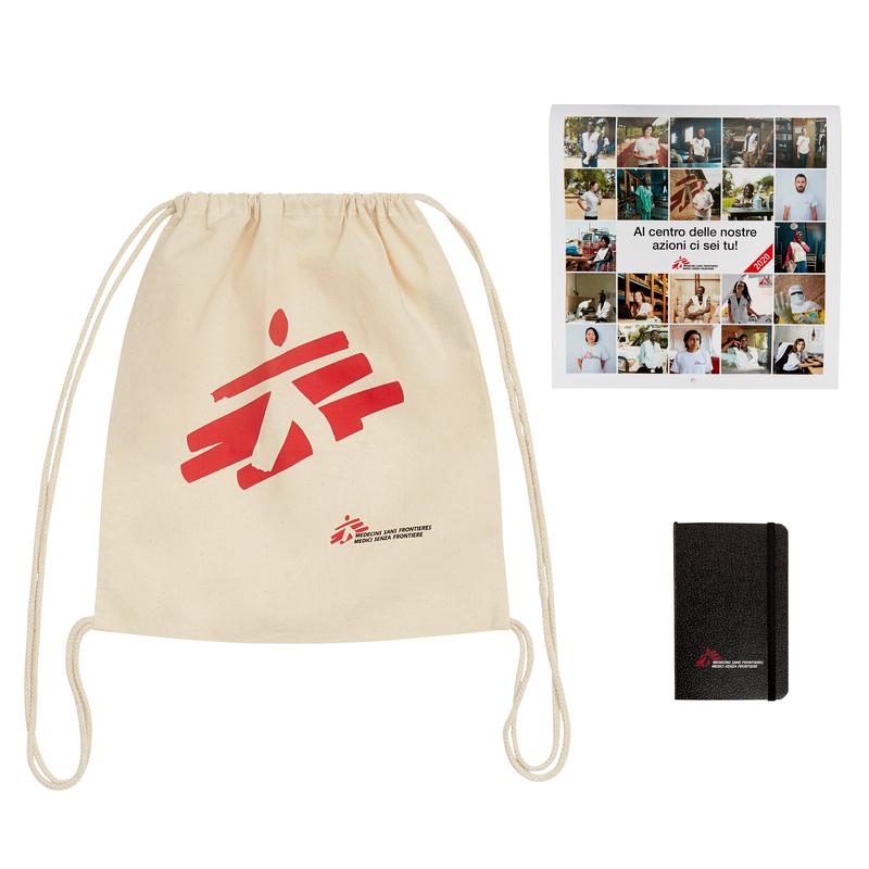Kit regalo MSF adulto: zaino, taccuino e calendario