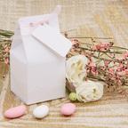 Bomboniera bianca con nastrino rosa