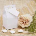 Bomboniera bianca con nastrino avorio