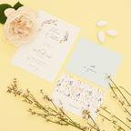 Partecipazione con invito e lista nozze floreale acquamarina