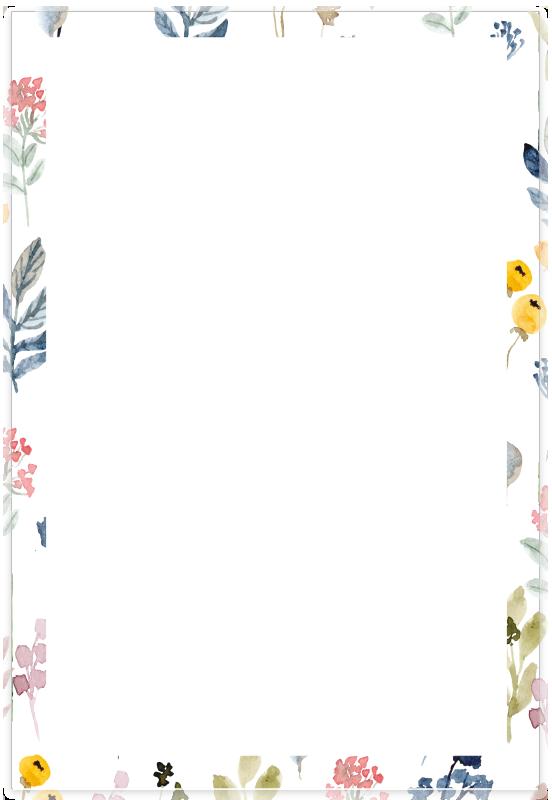 Partecipazione acquamarina con fiori colorati
