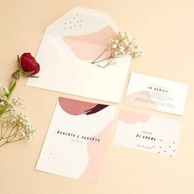 Partecipazione Colorata Rosa