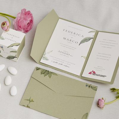 Partecipazione e bomboniera Botanica Verde Salvia