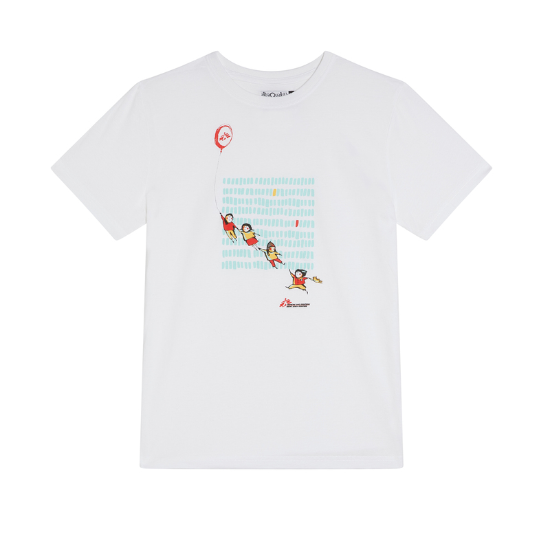 T-shirt bimbo bianca con palloncino