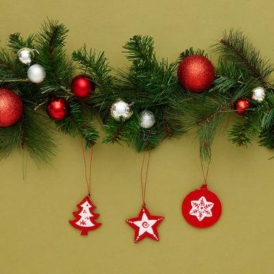 Set 3 palline di Natale in legno e feltro