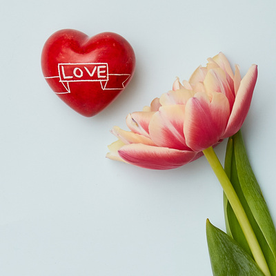 Cuore di pietra saponaria rosso Love