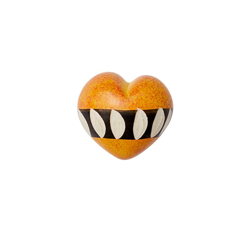 Cuore di pietra saponaria arancio e nero