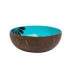 Ciotola di cocco laccata turchese con margherita
